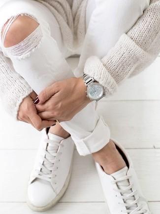 Женские белые кожаные низкие кеды от Ports 1961