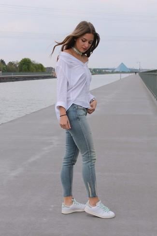 Женские белые кожаные низкие кеды от Gucci