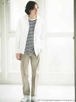Мужские белые кожаные низкие кеды от Philippe Model