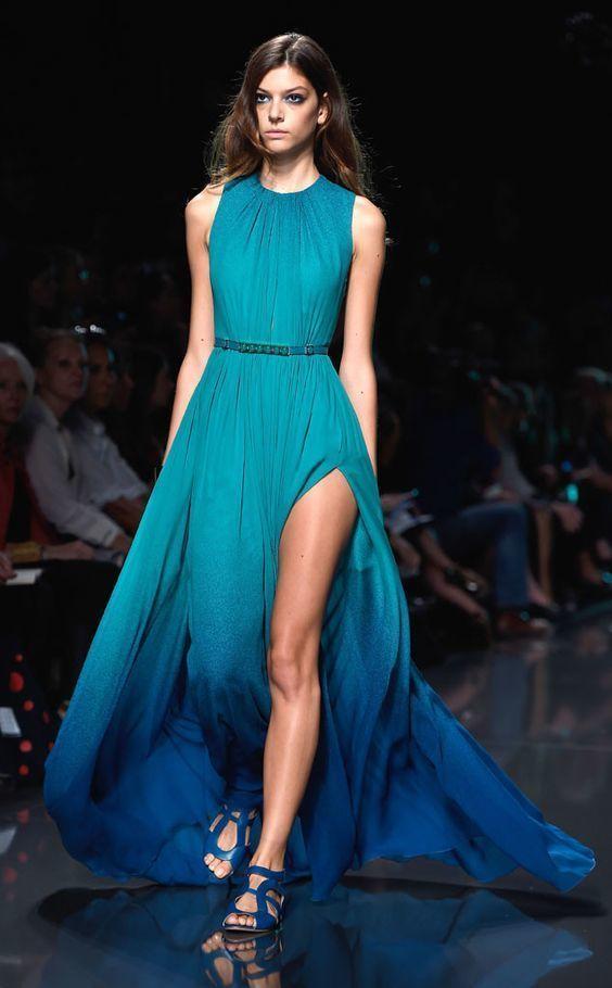162fe219ca5 Модный лук  бирюзовое омбре вечернее платье