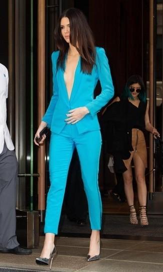 бирюзовый пиджак бирюзовые узкие брюки серебряные кожаные туфли large 2749