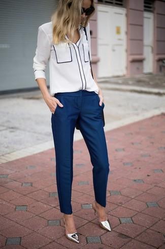 Женские темно-синие классические брюки от Motivi