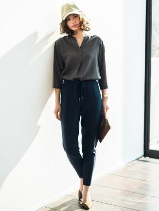 ada9df40fc0 ... Модный лук  темно-серая блузка с длинным рукавом