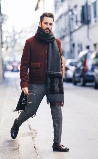 Мужские серые шерстяные классические брюки от Gant