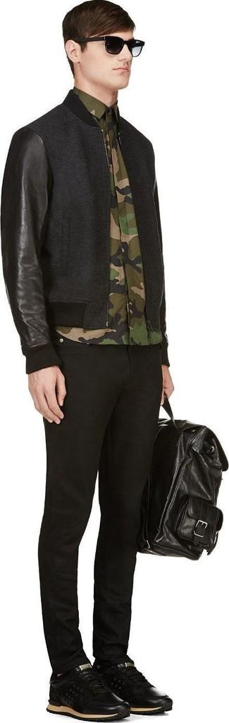 Мужские черные кожаные кроссовки от Lacoste