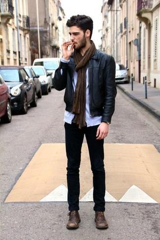 Мужские черные зауженные джинсы