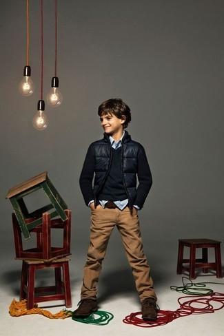 Как и с чем носить: темно-синий бомбер, темно-синий свитер, голубая рубашка с длинным рукавом в мелкую клетку, коричневые джинсы