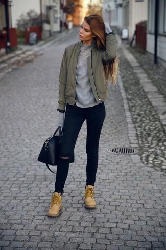 Женский серый свитер с круглым вырезом от LOST INK