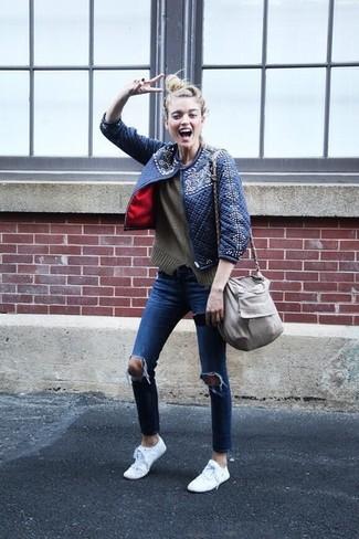 Синие рваные джинсы скинни от Levi's