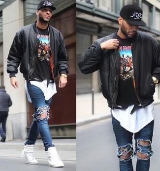 Мужские синие рваные зауженные джинсы от Esprit