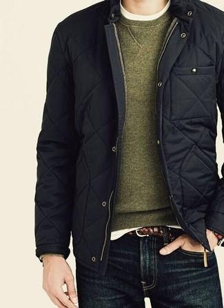 Мужской оливковый свитер с круглым вырезом от Topman