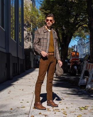 Как и с чем носить: коричневый бомбер в шотландскую клетку, оливковый свитер с v-образным вырезом, белая футболка с круглым вырезом, коричневые вельветовые джинсы