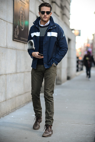 da5003e00b7 С чем носить оливковые зауженные джинсы мужчине  Модные луки (6 фото ...