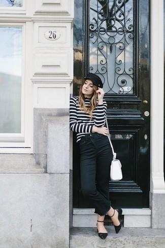 Как и с чем носить: черно-белая водолазка в горизонтальную полоску, черные джинсы, черные кожаные балетки, белая кожаная сумка через плечо
