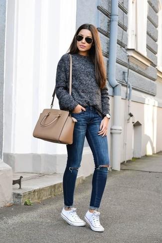 Синие рваные джинсы скинни от Moussy Vintage