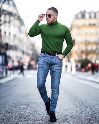 С чем носить мятные кожаные часы мужчине: Зеленая водолазка и мятные кожаные часы — беспроигрышный образ для активного выходного дня. Хочешь добавить в этот ансамбль немного строгости? Тогда в качестве дополнения к этому образу, стоит обратить внимание на черные замшевые ботинки челси.