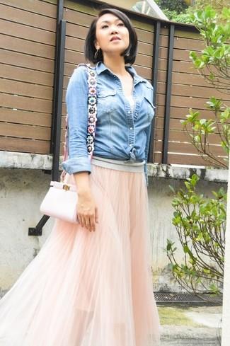 6b6d7e7d70d Розовая длинная юбка из фатина от Needle   Thread