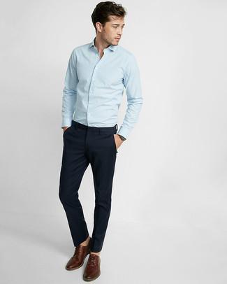 Мужская голубая рубашка с длинным рукавом в вертикальную полоску от Henrik Vibskov