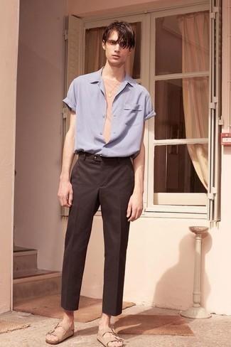 Мужская голубая рубашка с коротким рукавом от Hymn