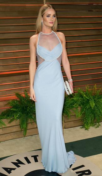 голубое вечернее платье белый клатч с украшением large 1402