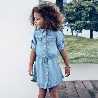 Как и с чем носить: голубое джинсовое платье
