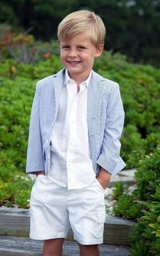 Как и с чем носить: голубой пиджак, белая рубашка с длинным рукавом, белые шорты