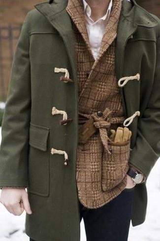 Как и с чем носить: оливковый дафлкот, коричневый шерстяной двубортный пиджак в клетку, белая классическая рубашка, темно-синие зауженные джинсы