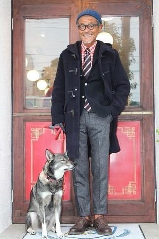 Как и с чем носить: темно-синий дафлкот, черный хлопковый пиджак, красно-белая рубашка с длинным рукавом в мелкую клетку, серые шерстяные классические брюки