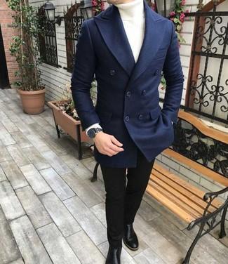 Как и с чем носить: темно-синий шерстяной двубортный пиджак, белая водолазка, черные зауженные джинсы, черные кожаные ботинки челси