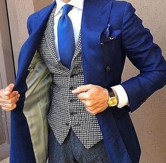 """Как и с чем носить: синий двубортный пиджак, бело-черный жилет с рисунком """"гусиные лапки"""", белая классическая рубашка, темно-серые классические брюки"""