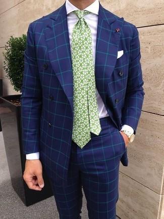 Как и с чем носить: синий двубортный пиджак в клетку, белая классическая рубашка, синие классические брюки в клетку, бело-зеленый галстук с принтом