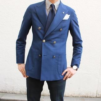 Как и с чем носить: синий двубортный пиджак, бело-темно-синяя классическая рубашка в вертикальную полоску, темно-сине-зеленые классические брюки в шотландскую клетку, темно-синий галстук