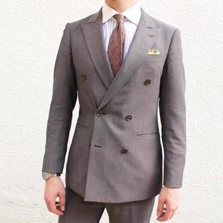 Как и с чем носить: коричневый двубортный пиджак, белая классическая рубашка в вертикальную полоску, коричневые классические брюки, коричневый галстук в горошек