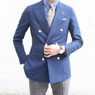 """Как и с чем носить: темно-синий двубортный пиджак, голубая классическая рубашка, серые классические брюки в шотландскую клетку, оливковый галстук с """"огурцами"""""""