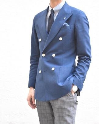 Как и с чем носить: синий двубортный пиджак, голубая классическая рубашка, серые классические брюки в шотландскую клетку, темно-синий галстук