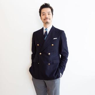 Как и с чем носить: темно-синий двубортный пиджак, белая классическая рубашка, серые классические брюки, темно-синий галстук в горизонтальную полоску