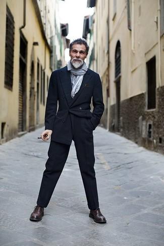 двубортный пиджак рубашка с длинным рукавом классические брюки броги шарф large 6085