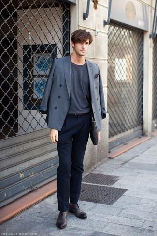Черно-белый нагрудный платок в горошек: с чем носить и как сочетать: Серый двубортный пиджак и черно-белый нагрудный платок в горошек — обязательные вещи в гардеробе современного молодого человека. Думаешь добавить сюда толику нарядности? Тогда в качестве обуви к этому образу, стоит выбрать темно-коричневые кожаные броги.