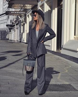 Женский темно-серый двубортный пиджак от Saint Laurent