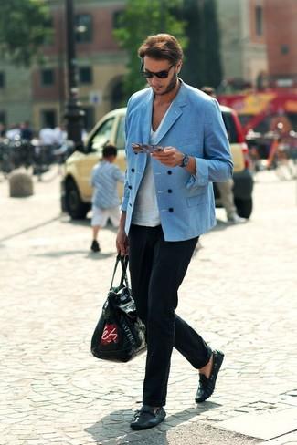 Мужские черные кожаные мокасины от Paolo Sesto