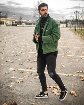 Мужские луки: Современным парням, которые предпочитают быть в курсе последних тенденций, рекомендуем взять на вооружение это сочетание зеленой джинсовой куртки.