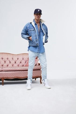 Мужская синяя джинсовая куртка от Topman