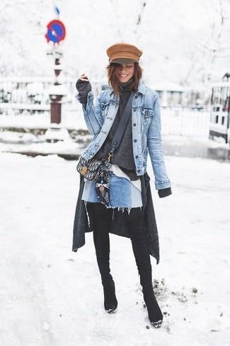 Как и с чем носить: голубая джинсовая куртка, темно-серый кардиган, темно-серая водолазка, белая классическая рубашка