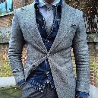 Как и с чем носить: темно-синяя джинсовая куртка, серый шерстяной пиджак, бело-синяя классическая рубашка в вертикальную полоску, серые шерстяные классические брюки