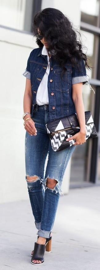 Темно-синие рваные джинсы скинни от Dsquared2