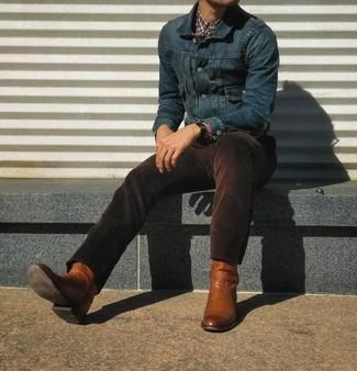 Как и с чем носить: темно-синяя джинсовая куртка, пурпурная рубашка с длинным рукавом в шотландскую клетку, темно-коричневые вельветовые джинсы, табачные кожаные ковбойские сапоги