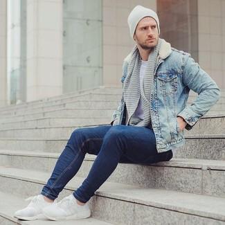 98c56d42 Как и с чем носить: голубая джинсовая куртка, серая футболка с круглым  вырезом,