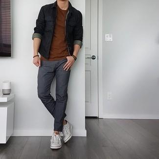 С чем носить темно-коричневый браслет мужчине: Черная джинсовая куртка и темно-коричневый браслет — замечательное решение для молодых людей, которые всегда в движении. Хотел бы сделать лук немного строже? Тогда в качестве обуви к этому ансамблю, стоит выбрать белые кожаные низкие кеды.