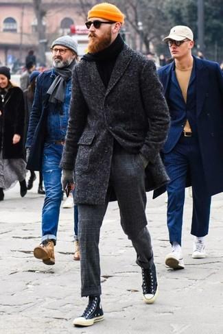 Мужские черные высокие кеды из плотной ткани от Prada
