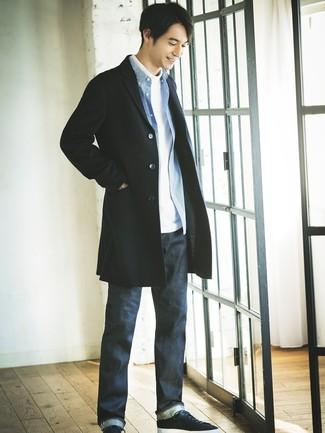 9915474ba30 С чем носить синюю рубашку с длинным рукавом в мелкую клетку мужчине ...